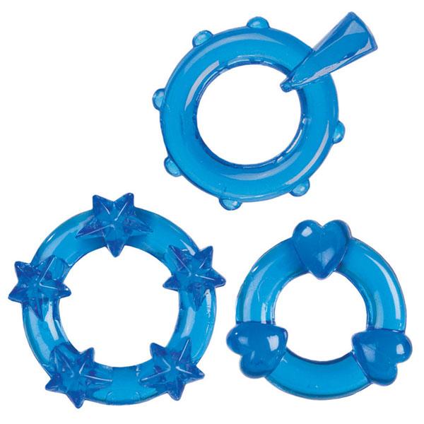 Набор из 3-х синих эрекционных колечек MAGIC C-RINGS
