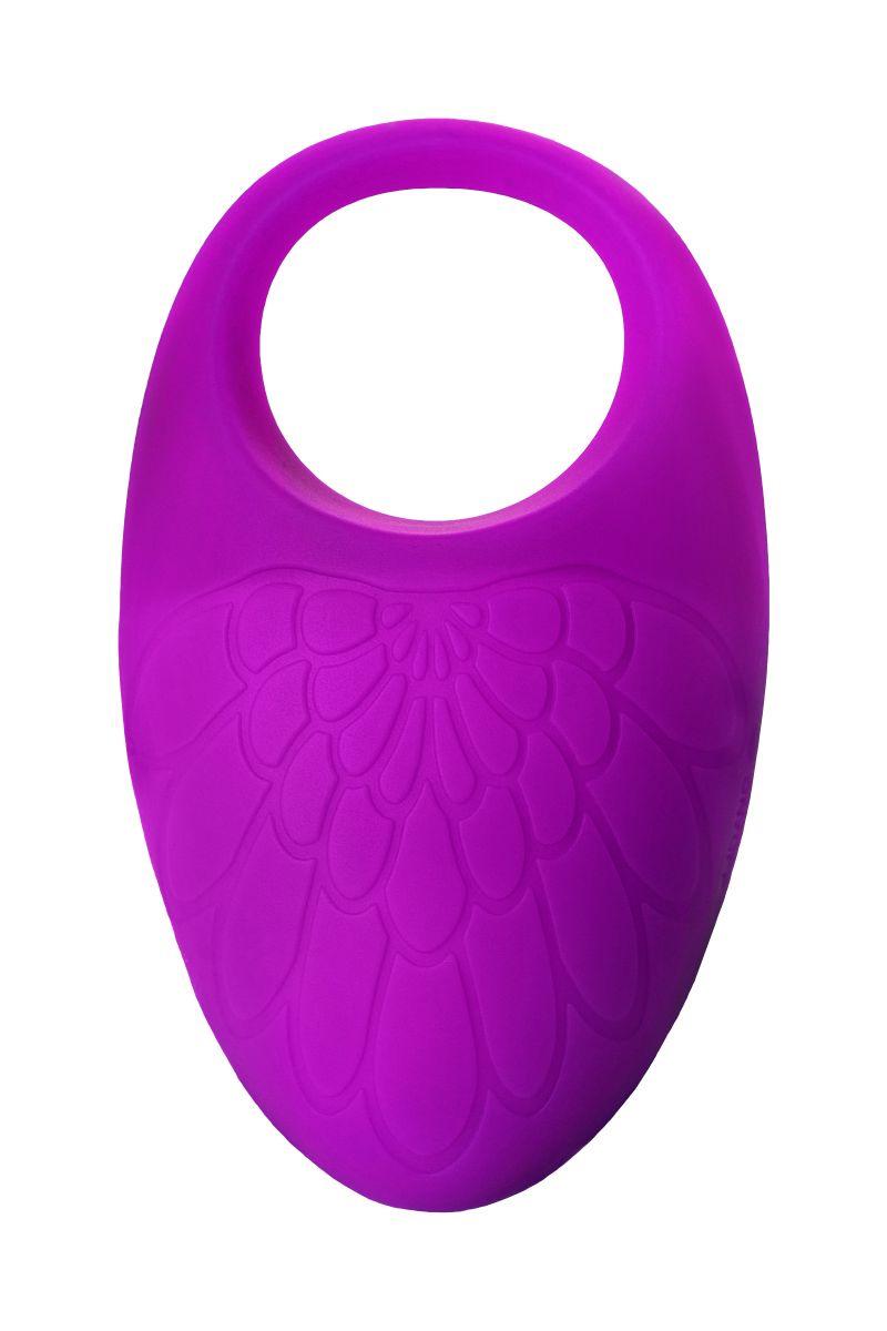 Фиолетовое перезаряжаемое виброкольцо с ресничками JOS  RICO