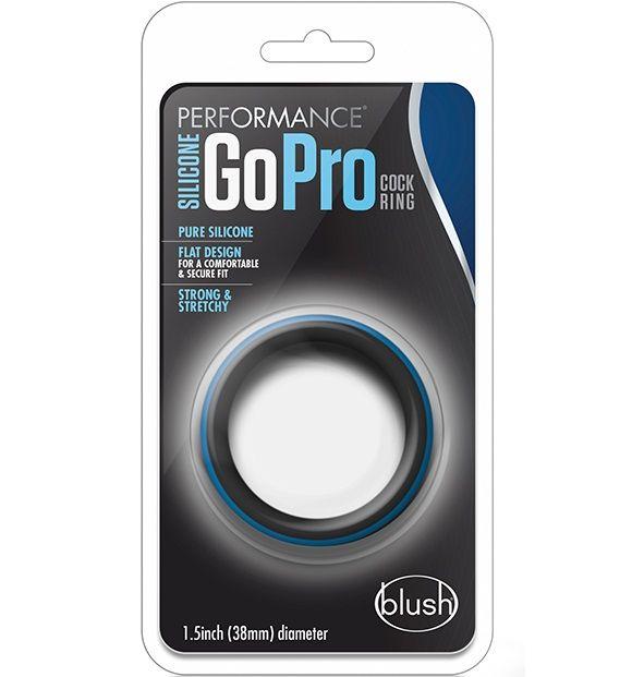 Черно-синее эрекционное кольцо Silicone Go Pro Cock Ring