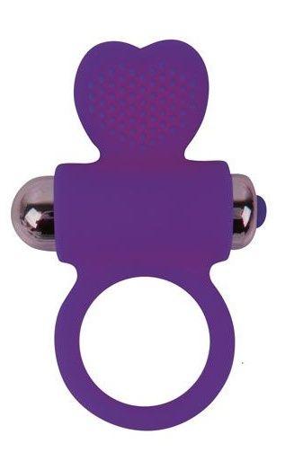 Фиолетовое эрекционное виброкольцо с сердечком