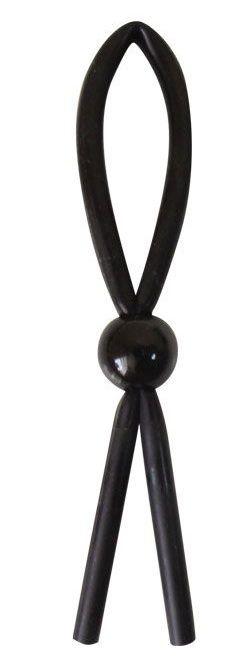 Черное силиконовое эрекционное кольцо-лассо