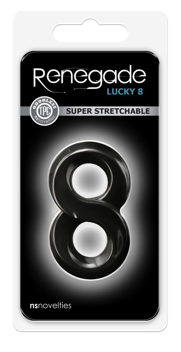 Черное эрекционное кольцо с подхватом мошонки Lucky 8