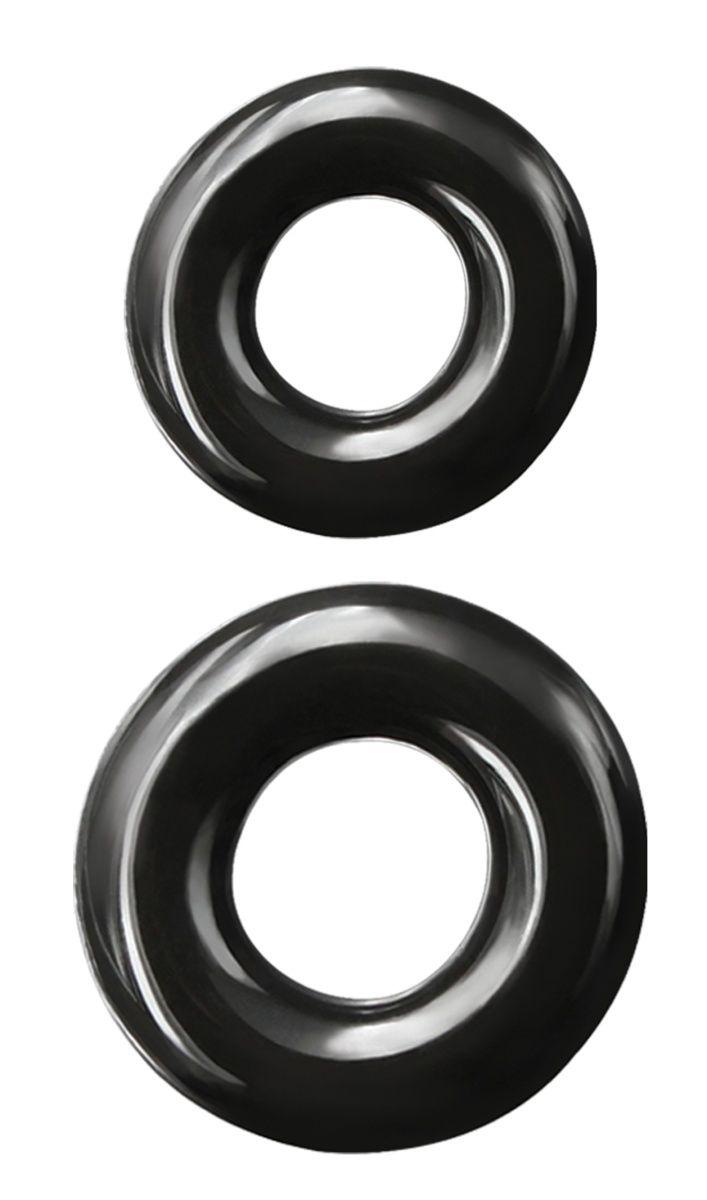 Набор из двух эрекционных колец черного цвета Double Stack