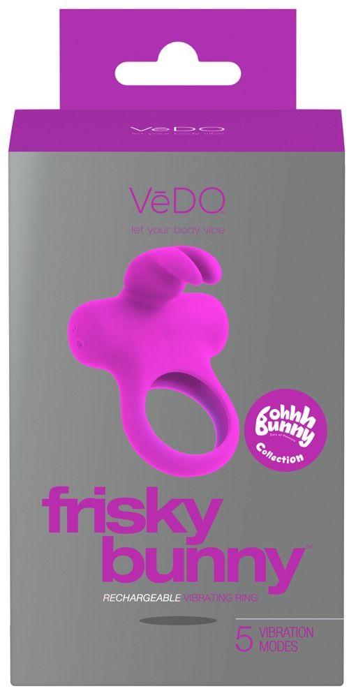 Лиловое эрекционное перезаряжаемое виброкольцо VeDO Frisky Bunny