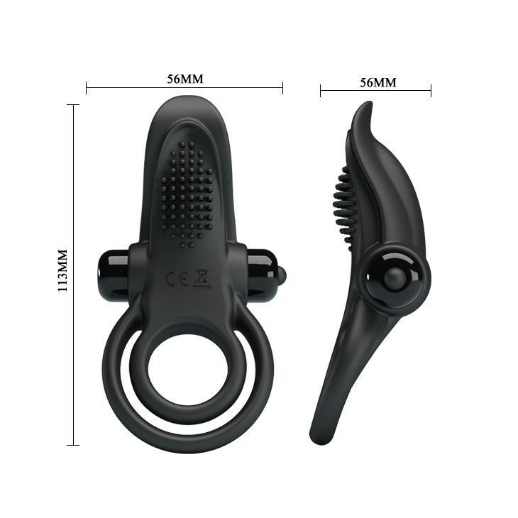 Черное силиконовое эрекционное кольцо с вибрацией и подхватом мошонки