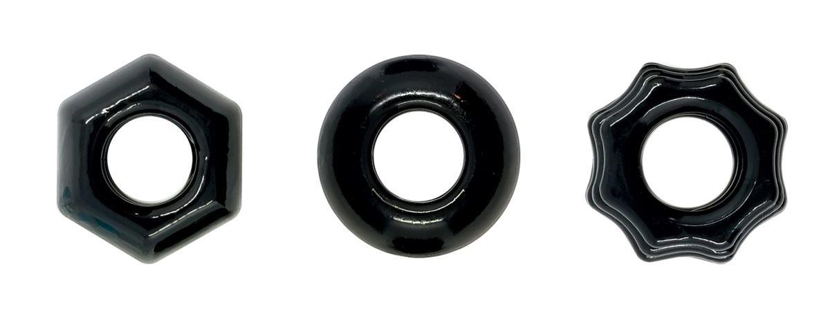 Набор из 3 черных эрекционных колец Chubbies