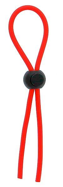 Красное эрекционное лассо с одной бусинкой-утяжкой STRETCHY THICK LASSO