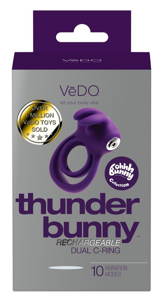 Фиолетовое эрекционное кольцо VeDO Thunder Bunny