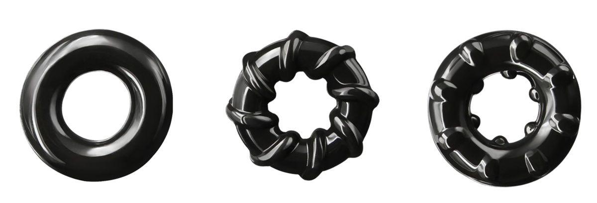Набор из 3 черных эрекционных колец Dyno Rings