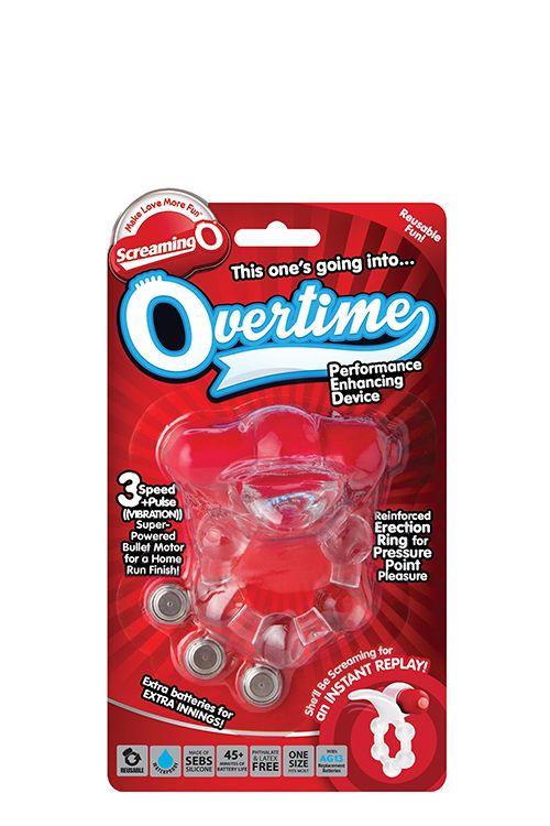 Виброкольцо с язычком и красным виброэлементом Overtime