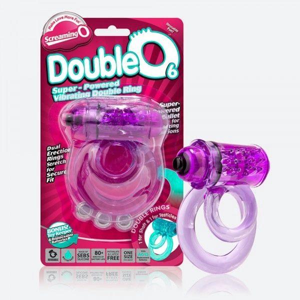 Фиолетовое двойное виброкольцо со стимулятором клитора Doubleo 6