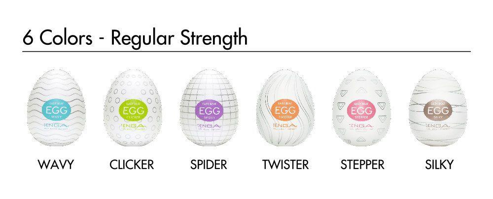 Набор из 6 мастурбаторов-яиц Tenga EGG Strong Sensations с различными рельефом