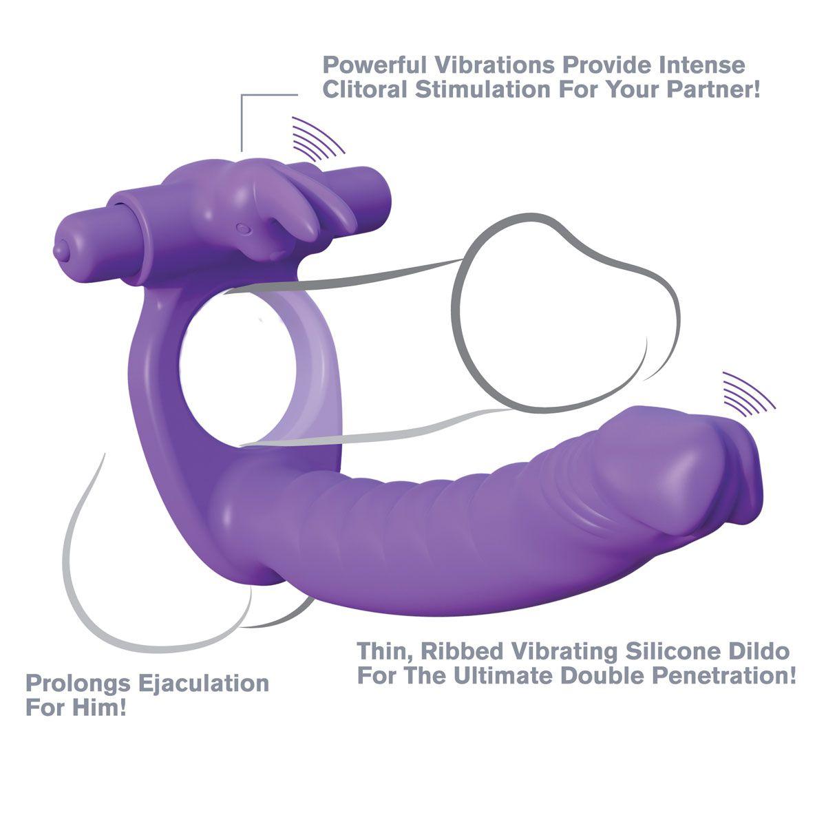 Эрекционное кольцо для двойного проникновения Silicone Double Penetrator Rabbit