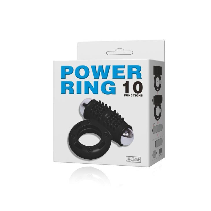 Черное эрекционное кольцо с 10 режимами вибрации