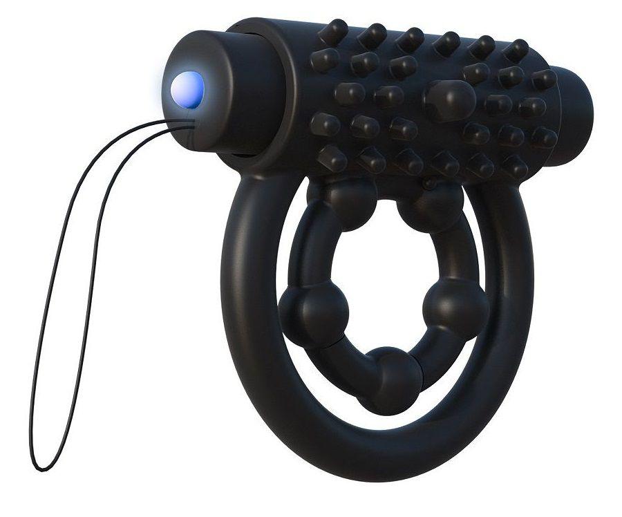 Эрекционное кольцо с подхватом мошонки и  клиторальной щеточкой с вибрацией