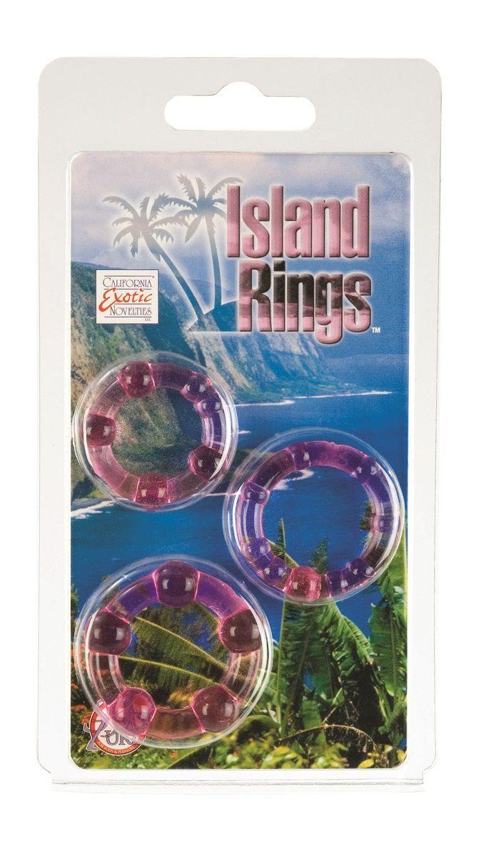 Набор из трех розовых колец разного размера Island Rings