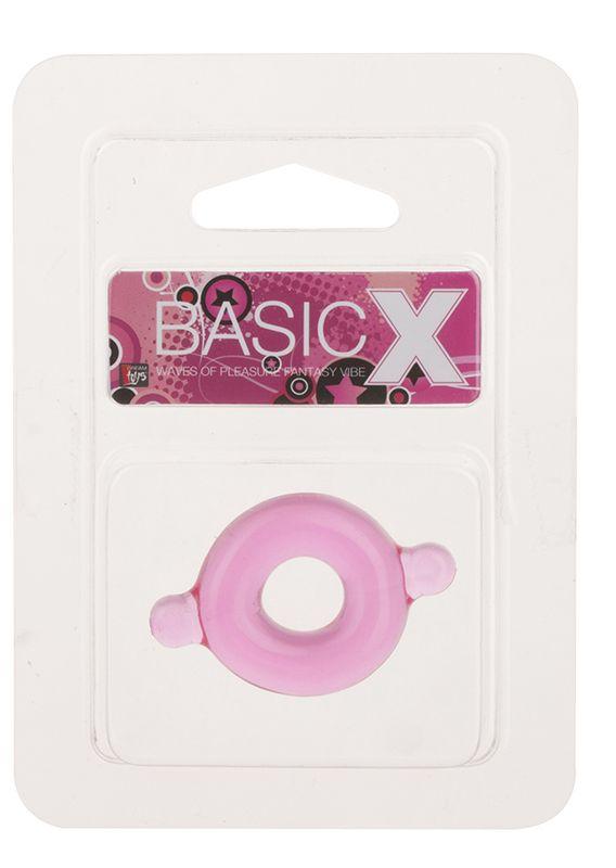 Розовое эрекционное кольцо с ушками для удобства надевания BASICX TPR COCKRING PINK