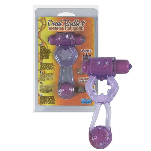 Фиолетовое эрекционное кольцо с вибропулей и стимулирующим хвостиком