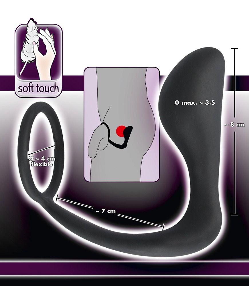 Чёрное эрекционное кольцо с анальной пробкой Black Velvets Ring   Plug