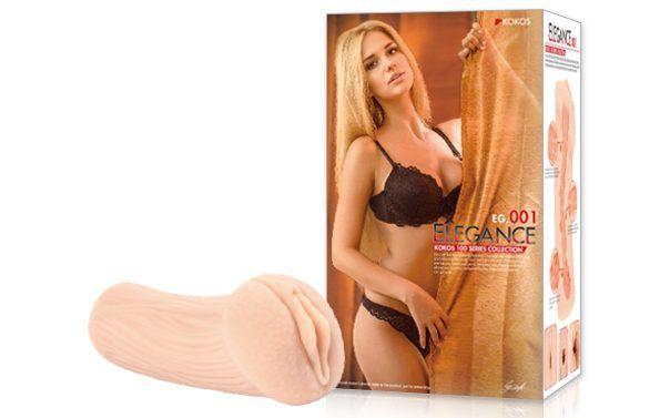 Реалистичный мастурбатор-вагина телесного цвета Elegance с двойным слоем материала