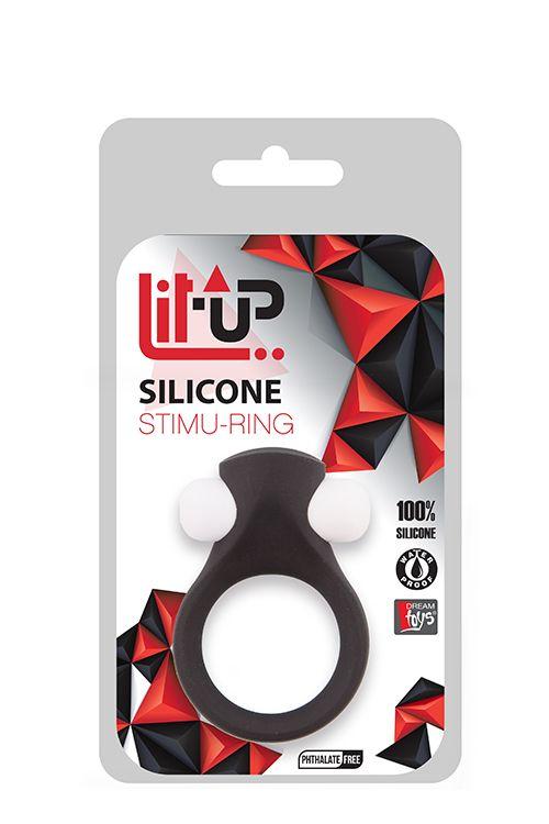 Чёрное эрекционное виброкольцо LIT-UP SILICONE STIMU RING 2 BLACK