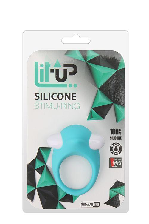 Голубое эрекционное кольцо LIT-UP SILICONE STIMU RING 6