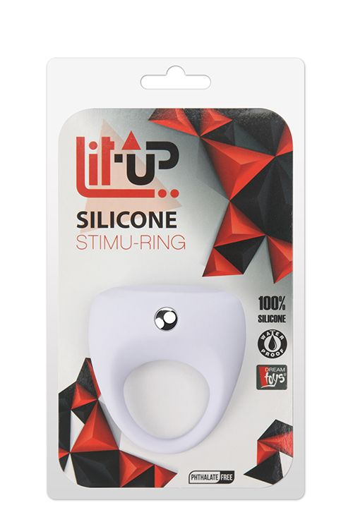 Белое эрекционное кольцо LIT-UP SILICONE STIMU RING 7