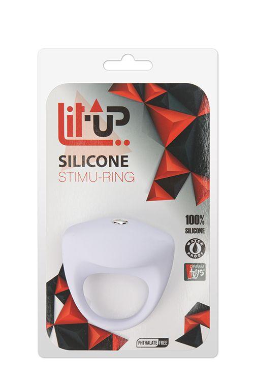 Белое эрекционное кольцо LIT-UP SILICONE STIMU RING 8