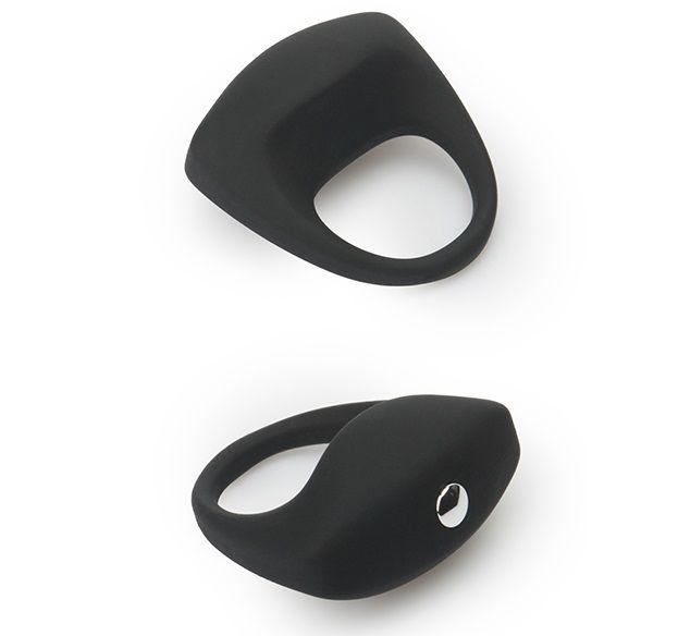 Чёрное эрекционное кольцо LIT-UP SILICONE STIMU RING 8