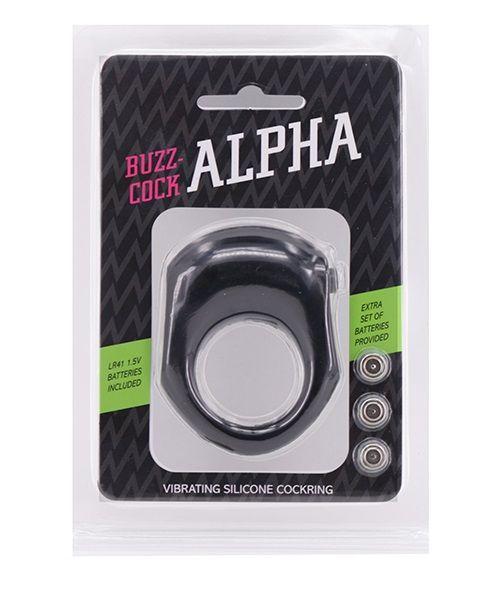 Чёрное эрекционное кольцо с вибрацией BUZZ COCK ALPHA