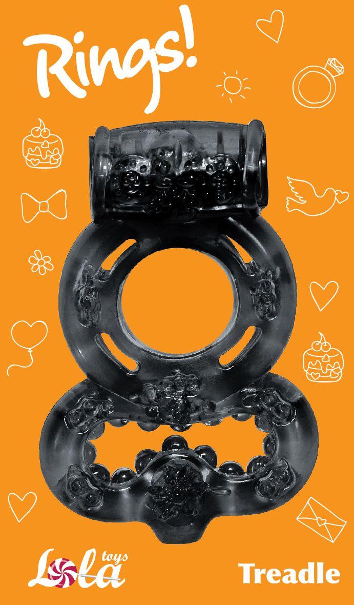 Чёрное эрекционное кольцо Rings Treadle с подхватом