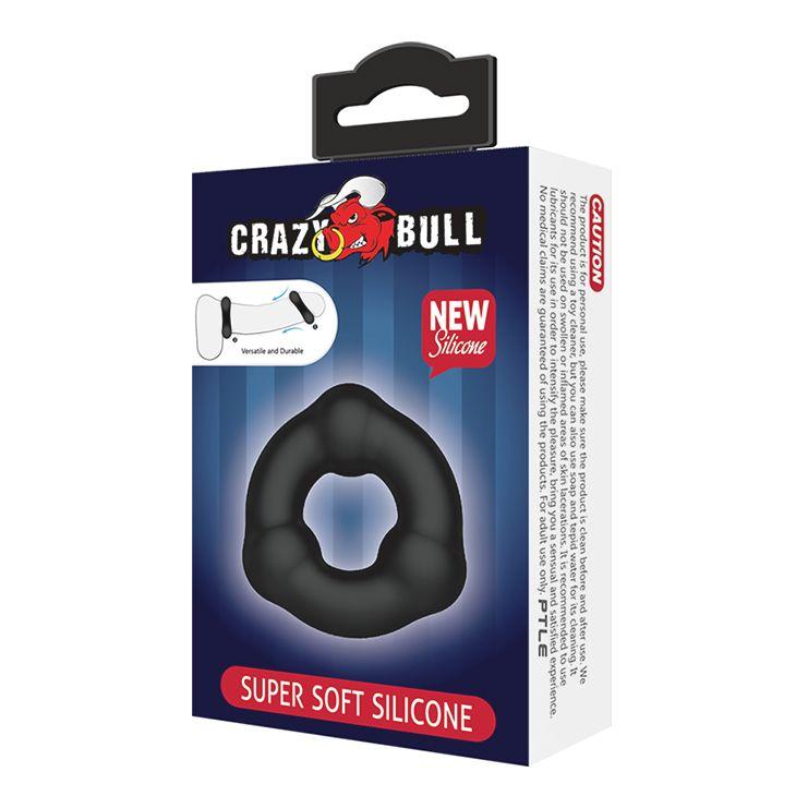 Черное эрекционное кольцо с 3 шариками