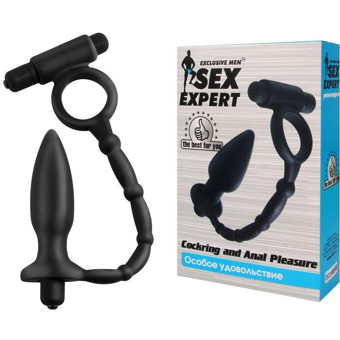 Эрекционное кольцо с вибрацией и анальный стимулятором Cockring and Anal Pleasure