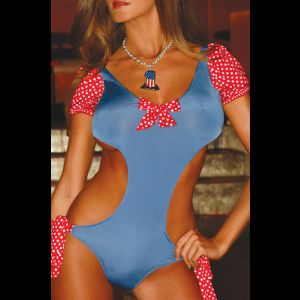Красно-голубой купальник с открытой спиной Candy Dream