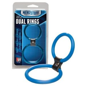 Синее двойное эрекционное кольцо Dual Rings Blue