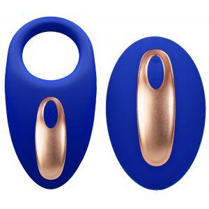 Синее эрекционное виброкольцо Poise с пультом