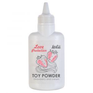 Пудра для игрушек Love Protection с ароматом клубники со сливками - 30 гр.