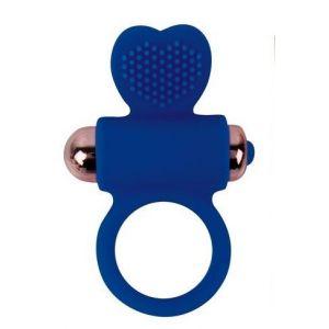 Синее эрекционное виброкольцо с сердечком