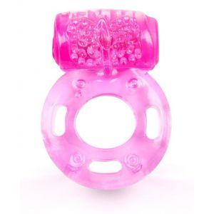 Розовое эрекционное кольцо с вибростимуляцией