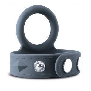 Темно-серое эрекционное кольцо с утяжкой для мошонки - размер S-M