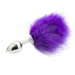 Металлическая пробка с фиолетовым хвостиком - 11 см.