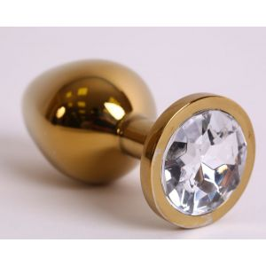 Золотистая анальная пробка с прозрачным кристаллом - 8,2 см.