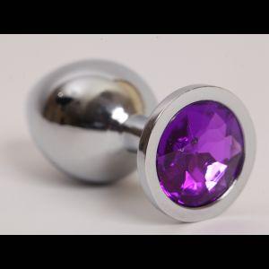 Серебристая анальная пробка с фиолетовым стразом - 9,5 см.
