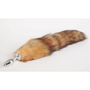 Серебристая анальная пробка с длинным хвостом  Королевская лиса