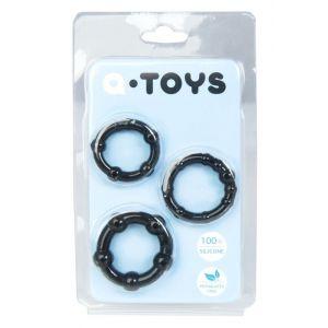 Набор из 3 чёрных эрекционных колец A-toys