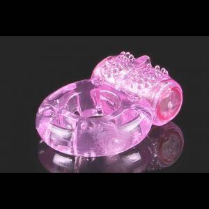 Розовое виброкольцо с рельефом в виде бабочки