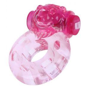 Розовое эрекционное виброкольцо  Медвежонок