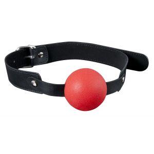Красный силиконовый кляп-шар с ремешками из полиуретана Solid Silicone Ball Gag