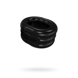 Чёрное эрекционное виброкольцо Stretch