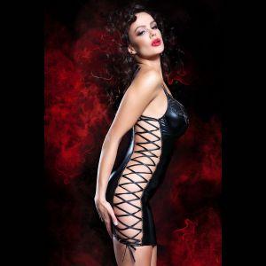 Роскошное wet-look платье Aline с завязками по бокам